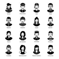 Avatares humanos en diversas profesiones. vector