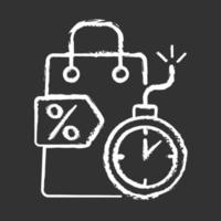 Oferta por tiempo limitado icono de tiza blanca sobre fondo negro