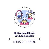 Icono de concepto de libros y audiolibros motivacionales vector