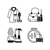 ropa, reparación, negro, lineal, iconos, conjunto vector