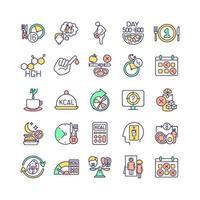 conjunto de iconos de colores rgb de ayuno intermitente vector