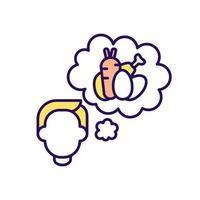 pensando en comida icono de color rgb vector