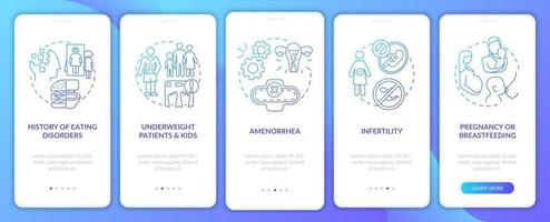 Intermittent fasting precaution blue onboarding mobile app page screen with concepts