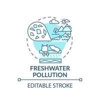 icono de concepto de contaminación de agua dulce vector