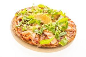 Pizza with smoked salmon photo