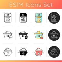 Home cooking appliance icons set vector