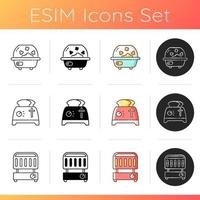 Kitchen appliance icons set vector