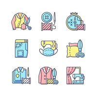 Sewing services RGB color icons set vector