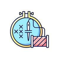 icono de color de bordado rgb vector