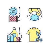 conjunto de iconos de color rgb de alteración de ropa vector
