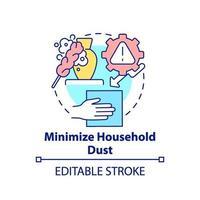 Minimizar el icono del concepto de polvo doméstico vector