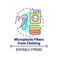 Fibras microplásticas del icono del concepto de ropa vector