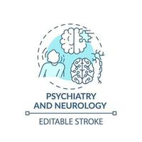 Psychiatry and neurology blue concept icon vector