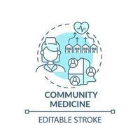 icono de concepto azul de medicina comunitaria vector