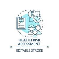Icono de concepto azul de evaluación de riesgos para la salud vector