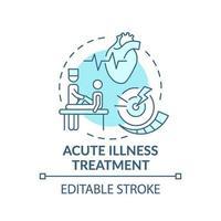 Tratamiento de enfermedades agudas concepto icono azul vector