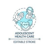 icono de concepto azul de atención médica adolescente vector