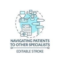 Navegar a los pacientes a otros especialistas icono del concepto azul vector