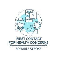 primer contacto por problemas de salud concepto azul icono vector