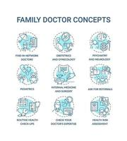 Family doctor blue concept icons set vector