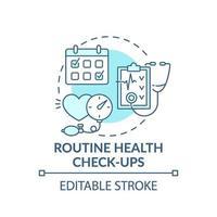 chequeos de salud de rutina concepto azul icono vector