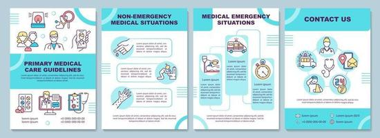 Primary medical care guidelines brochure template vector
