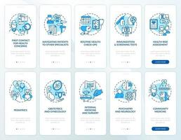 Family doctor blue onboarding mobile app page screen with concepts set vector
