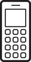 Line icon for old cell phone vector