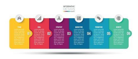 Plantilla de negocio de infografía con diseño de paso u opción. vector