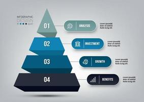 Pyramid 4 step process work flow infographic template. vector