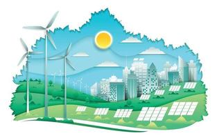 Eco City on Nature Concept vector