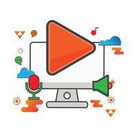 Ilustración del botón de reproducción. Ilustración de computadora. icono de vector plano. puede utilizar para, elemento de diseño de icono, interfaz de usuario, web, aplicación móvil.
