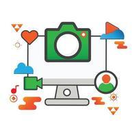 Ilustración de la cámara. Ilustración de computadora. icono de vector plano. puede utilizar para, elemento de diseño de icono, interfaz de usuario, web, aplicación móvil.