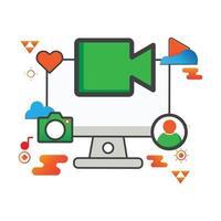 Ilustración de grabadora de video. Ilustración de computadora. icono de vector plano. puede utilizar para, elemento de diseño de icono, interfaz de usuario, web, aplicación móvil.