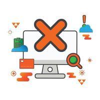 eliminar ilustración. Ilustración de computadora. icono de vector plano. puede utilizar para, elemento de diseño de icono, interfaz de usuario, web, aplicación móvil.