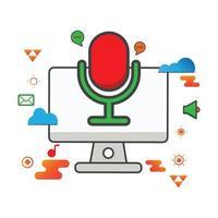 Ilustración de grabadora de voz. Ilustración de computadora. icono de vector plano. puede utilizar para, elemento de diseño de icono, interfaz de usuario, web, aplicación móvil.