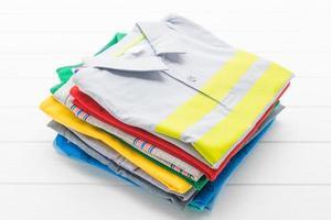 Polo shirts on white background photo