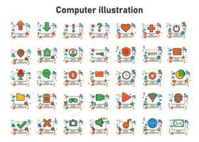 Ilustración de computadora. ilustración vectorial plana. puede utilizar para, elemento de diseño de icono, interfaz de usuario, web, aplicación móvil. vector