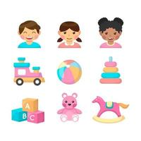 Children Icon Collection in Flat Design vector