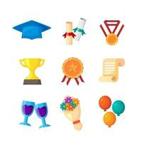 Graduation Icon Collection in Flat Design vector