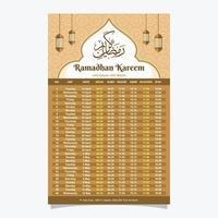 Islamic Ornament Calendar Template vector