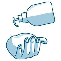 lavarse las manos con desinfectante, jabón líquido, vector, icono, prevención vector