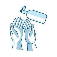 Lavarse las manos con el procedimiento de icono de vector de jabón líquido desinfectante
