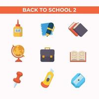 Set of Education School Flat Icon vector