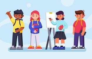 niños de regreso a la escuela conjunto de caracteres vector