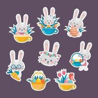conejito de pascua con huevos y colección de pegatinas de flores vector