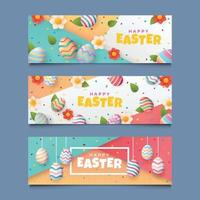 Set of Easter Banner with Colorful Eggs and Flower