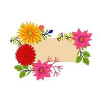Vector frame Flowers Colors Blank Flourish Template Isolated