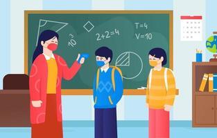 New Normal Protocol at School vector