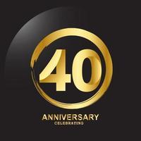 Ilustración de diseño de plantilla de vector de aniversario de 40 años